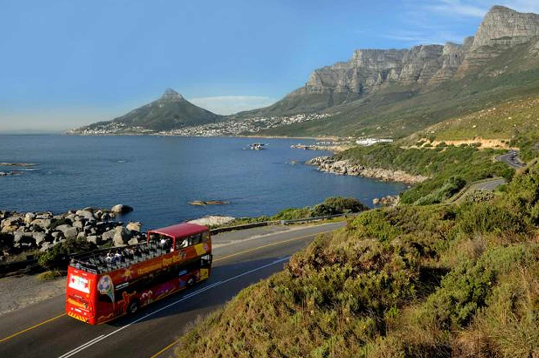 Bus on the way to Camps Bay Beach, Cape Town