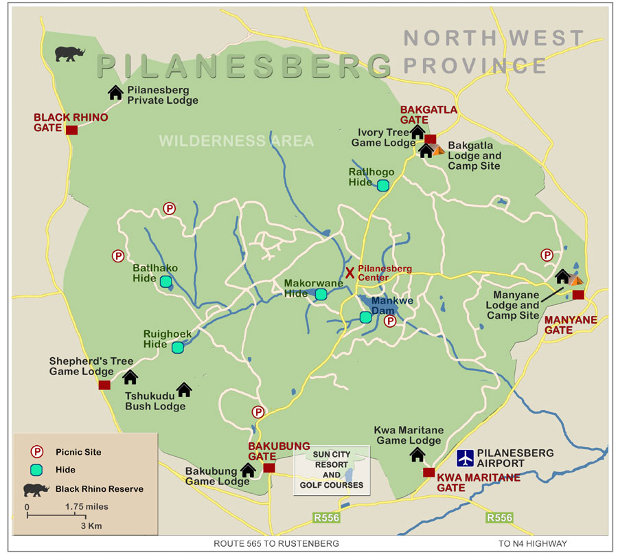 FindTripInfo.com Pilansberg National Park Map