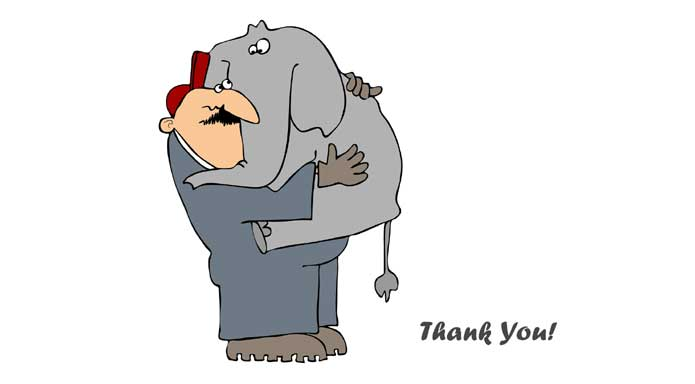 Cartoon - man holding elephant