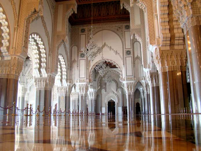 Interior of the western side of the main hall in the Hassan II Mosque in Casablanca, Morocco.