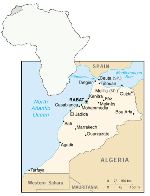 Morocco  map in Africa
