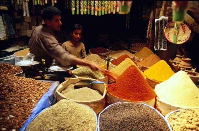 Spices on display in a Moroccan souk
