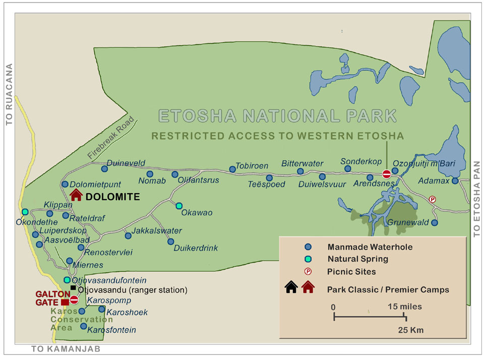 Map of Etosha National Park - Western Region