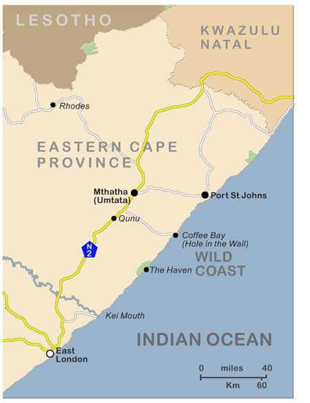 Eastern Cape - map of Wild Coast region