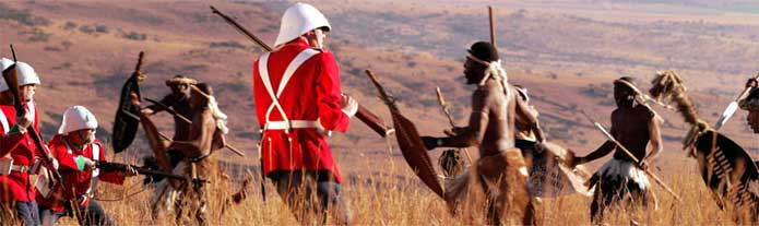 A reenactment of a historic battle between British and Zulu, Kwazulu-Natal