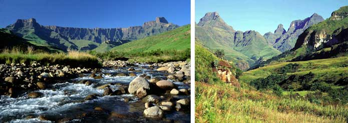 The Drakensberg mountain range in Kwazulu-Natal