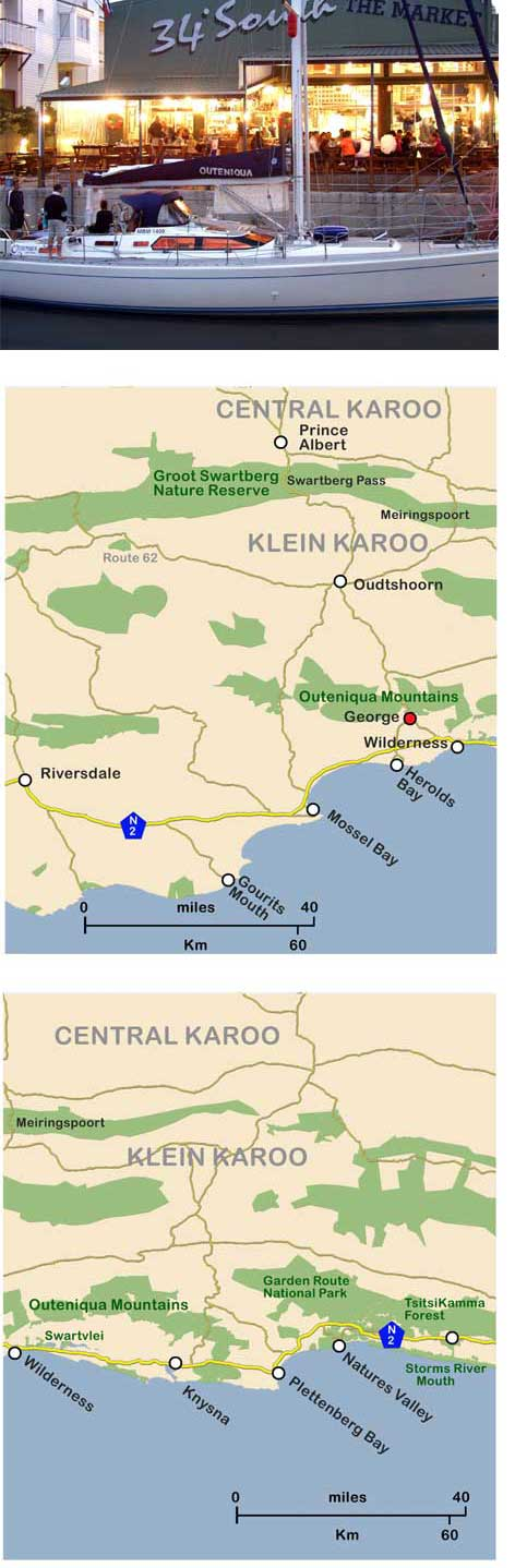 Map of Garden Route and view of Knysna Keys