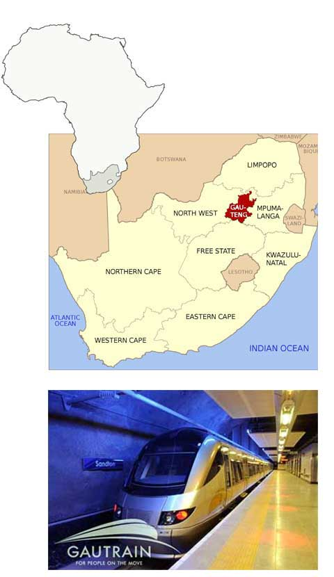 Gauteng South Africa map and Gautrain