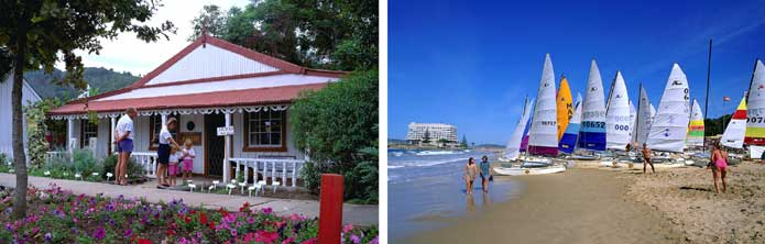 Roadside shops and beach at Plettenberg Bay