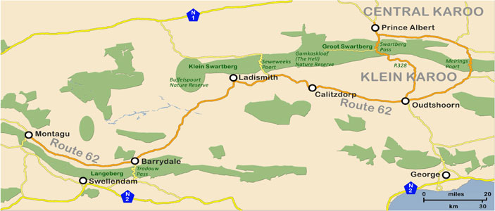 Route 62 and the Klein Karoo (Map)