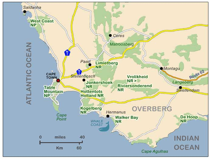 Map of South Western Cape Nature Reserves and Parks