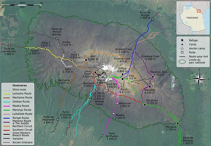Map of Climbing Routes up Mount Kilimanjaro